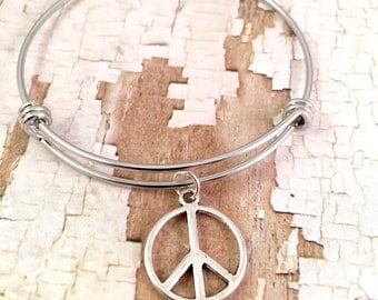 Peace charm bracelet, Adjustable bangle bracelet, peace bracelet, stainless steel bracelet, for her