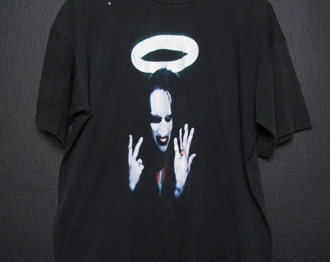 Marilyn Manson I Wasn't Born With Enough Middle Fingers 1990s vintage Tshirt