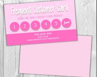Frequent Buyer Reward Card - MaryKay LulaRoe R&F ThirtyOne PinkZebra Paparazzi Consultant Small Business - Custom Printable