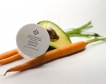 Carrot moisturizer & avocado. Christmas gift woman man facial natural organic Shea butter Lavender skin Aloe dry day Sun