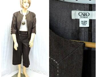 Vintage 90s denim jacket and wide leg pants  plus size brown denim wide leg capris matching jacket size 18 / 20 SunnyBohoVintage