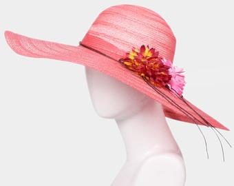 Red Wide Brim Flower Straw Floppy Sun Hat