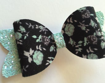 Mint and Black Floral Glitter Bow