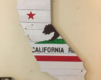 Hand painted reclaimed wood California wall art