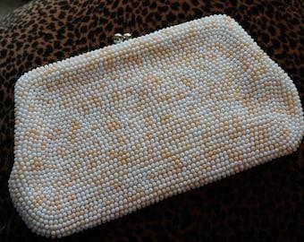 Vintage Peach White Bead Micro Bead Purse/ 1960s Clutch Purse/ Prom purse/ Easter Purse/ Social Purse/ Wedding Purse