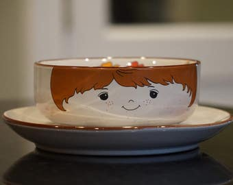 1970s Boy Bowl and Plate/ Stacking Bowl and Plate/ Made in Japan