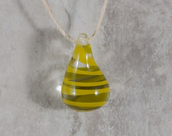 Hand Blown Green Glass Teardrop Pendant