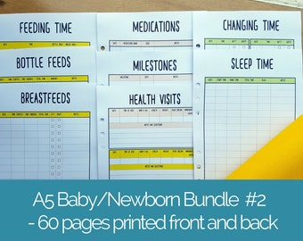 Printed A5 NEWBORN / BABY PLANNER #2 insert bundle - 60 double-sided pages - new mom planner - feeding sleep tracker - baby planner kit