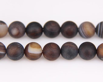 6-12mm Natural Frosted Agate Beads Necklace Beautiful Brown Striped Matte Round Agate Crystal Drusy Bead for Bracelet Necklace