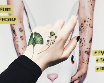 Ginkgo Leaf Metallic Temporary Tattoo