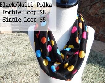 Multi color polka infinity Scarf