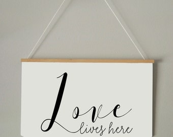BANNER/ PENNANT  LOVE lives here / Room Decor/  Wall Art
