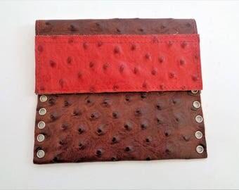 Handmade Ostrich Purse, Ostrich Wallet, Genuine Ostrich Skin Coin Purse, boho leather coin purse