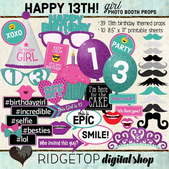 Photo Booth Props Happy 13th Birthday Girl Party Printable