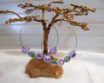 Beautiful Lavender Hoop glass dot earrings