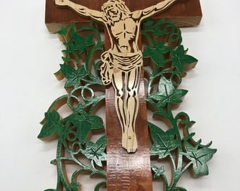 Vine Cross Crucifix - Maple & Painted Pine