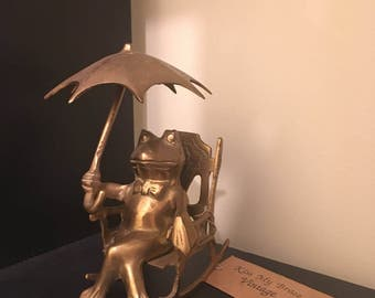 Brass Frog with Umbrella // Vintage Brass