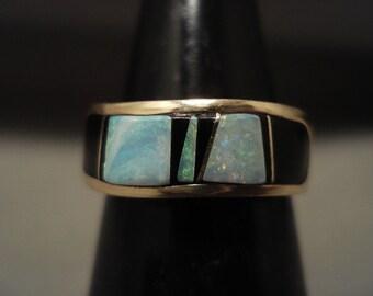 Solid 14k Gold Vintage Navajo Opal Onyx Ring