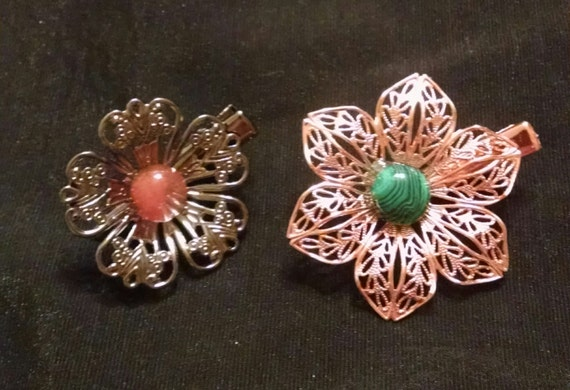 AUTUMN PRAIRIE BLOSSOMS Exquisite set of two natural stone tichel clips, scarf clips, hair clips, hair jewelry
