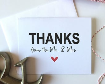ON SALE Thanks from the Mr & Mrs - Wedding Thank You - Wedding Thanks - Mr Mrs Thank You Card - Bride Thank You - Future Mrs - Bridal Note