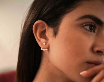 Cz ear jacket earrings - gold minimal ear jackets - minimalist ear jackets - simple cz ear jacket - dainty gold ear jacket - modern earrings