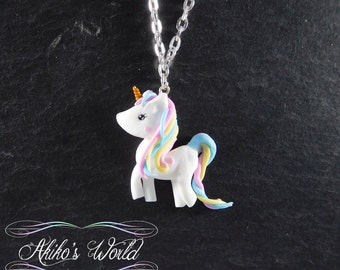 Kawaii pastel rainbow unicorn necklace - Pendant hand made out of polymer clay / fimo - Fantasy art style jewelry
