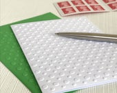 POLKA DOTS - Set of 6 Embossed Cards (No.130) - Pack of 6 White Blank Cards decorated with hundreds of polka dots