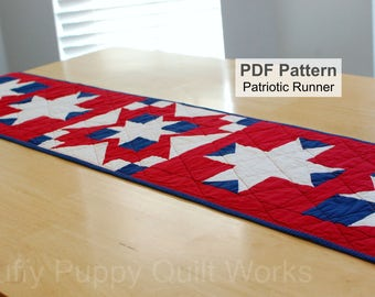 Patriotic Table Runner Quilt Pattern, Red White Blue Quilted Topper PDF Instructions,  Fourth of July Americana Quilting Sewing Pattern