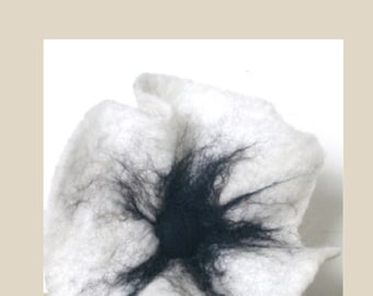 White Wool Poppy, Needle Felted Art.