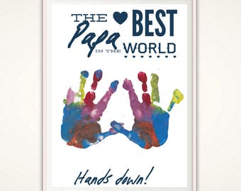 Papa Print - Birthday Gift Papa, Personalized Gifts for Papa, Papa Gifts from kids, DIY Handprint Art, Fathers Day Gift, Best Papa PRINTABLE