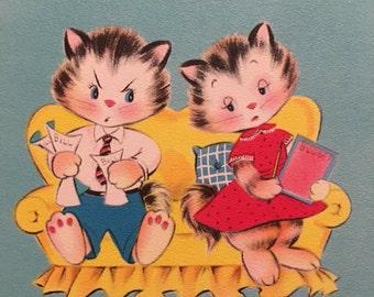 Anniversary Card, Kittens, Aqua, Vintage Card, NOS, 1950s