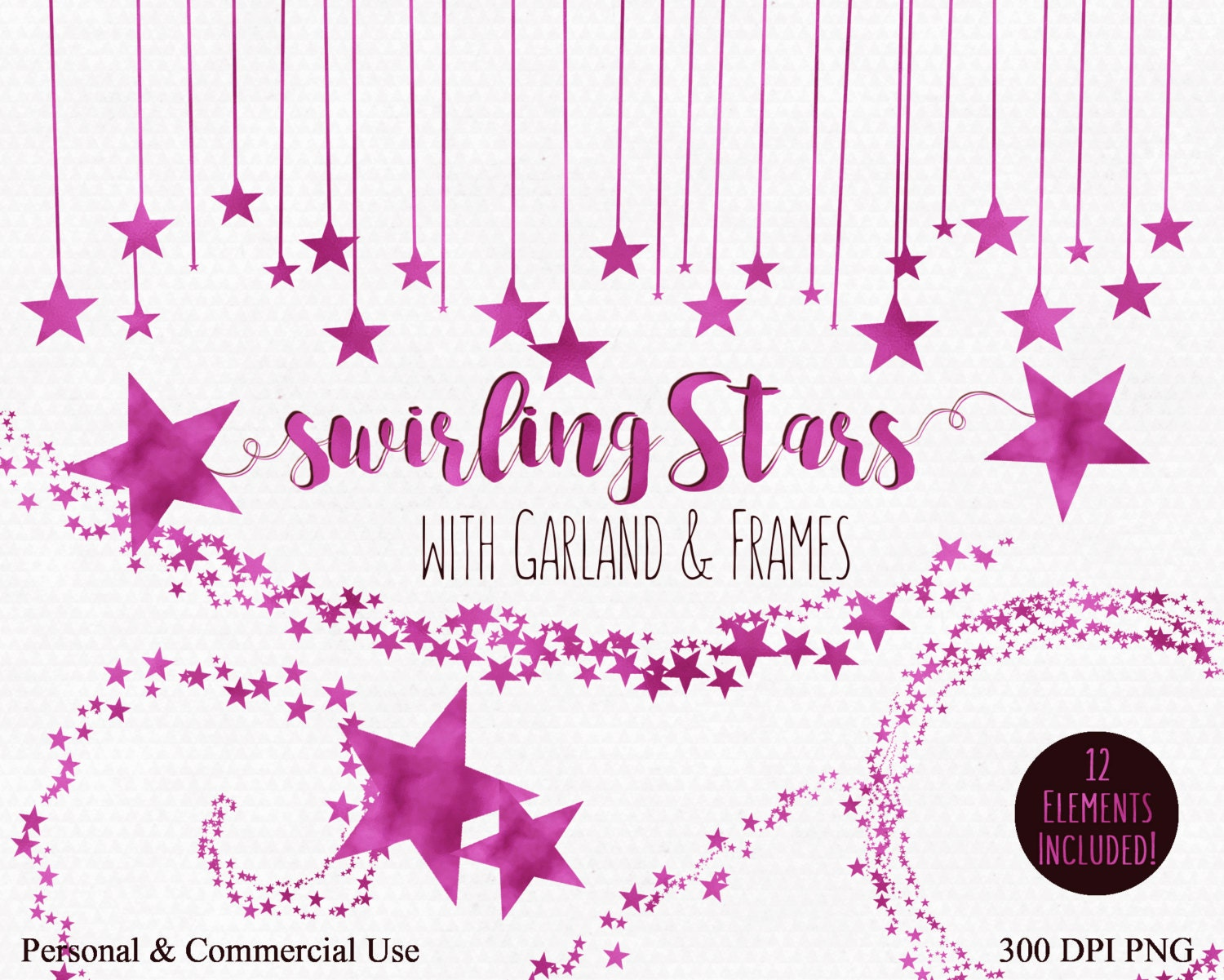 Hot pink star clipart commercial use clip art swirling