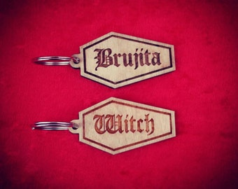 Brujita, Witch, Goth, Pentagram Coffin key-chain