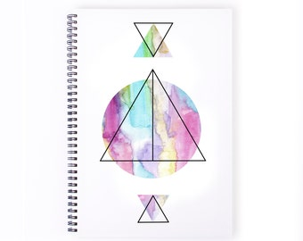 Notebook Personalise  - Geometric, Colour, Shapes, Stationery, Recycled Paper,Lined, Blank Paper, Journal, Personalized, A4 Notebook, Art
