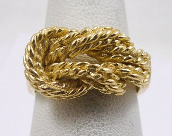 NEW Solid 10K Yellow Gold Love Knot Rope Ring Band 11mm, Sizes 5 - 12