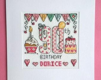 Happy 90th Birthday cross stitch card kit