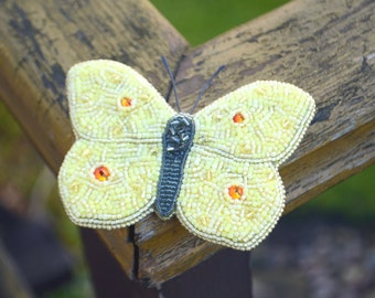 Bead embroidery butterfly brooch, Beaded butterfly brooch, Yellow butterfly clip, Statement jewelry, Butterfly jewelry, Insect brooch
