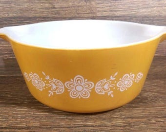 Vintage Pyrex 2.5 Quart Butterfly Gold Cinderella Casserole Mixing Bowl 475 B