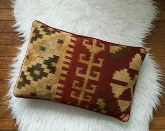 Kilim Pillow, Turkish Pillow, Boho Throw Pillow, Maroon Throw Pillows, Kilim Throw Pillows, Kilim Lumbar Pillows, Kilim Cushion Kilim Lumbar
