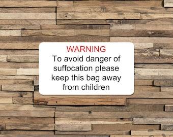 Bag Suffocation Warning Label