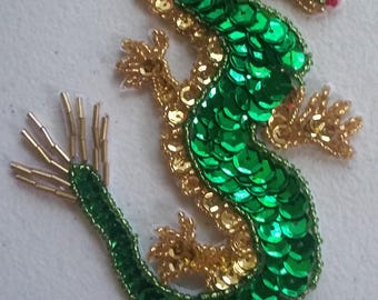 Green and gold chinese dragon sequins handmade applique