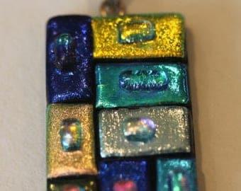 Sterling silver bright multi color dichroic glass dangle pendant