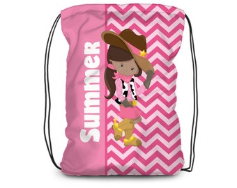 Cowgirl Drawstring Backpack - Cowgirl Bag, Pink Western Cinch Sack, Cowgirl Personalized Backpack, You Pick Girl - Kids Personalized Gift