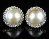Antique Victorian Mabe Pearl and Diamond Earrings 18ct Gold 4ct of Diamonds