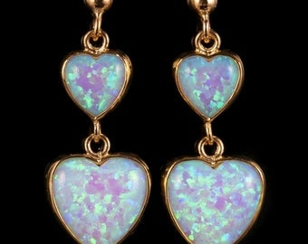 Victorian Double Drop Opal Heart Earrings 9ct Gold 7ct Opal