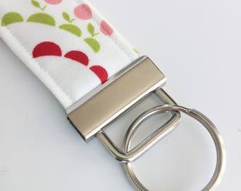 Key Fob, White & Pink Key Wristlet, Decorative Keychain