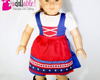 American made Girl Doll Clothes, 18 inch Doll Clothing, Lace-Up Dirndl made to fit like American girl doll clothes