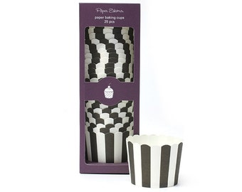 Baking Cups   Black Stripe Baking Cups   Premium Quality Paper Baking Cups   Snack Cups   Candy Cups   Party Supplies   The Party Darling
