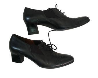 Oxford Heels Size 9 Black Oxford Vintage Easy Spirit Shoes Lace Up Heels Vintage Heels Black Leather Oxfords 2 Inch Heel Vintage Oxfords