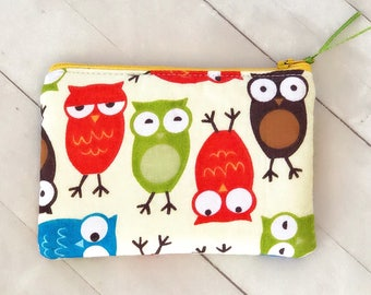 Clearance!! Colorful owls zipper pouch change purse coin pouch